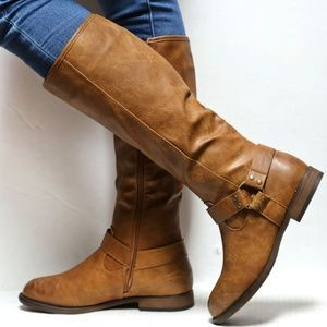 Shoes - New Tan Western Buckle Knee High Riding Boots